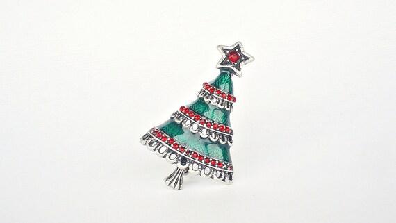 Rhinestone Enamel Christmas Tree Brooch - Vintage Green Red Holiday Pin