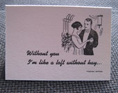 Loft Without Hay - letterpress anniversary card with Yiddish saying