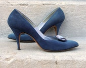 1950s High Heels Pumps Shoes TEAL Cadet BLUE Suede Mad Men Bombshell 7AAAA