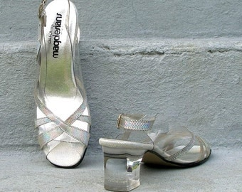 Vintage 80s Sandal Heels Silver Iridescent Chunky Lucite Heels / U. S. 5 to 6 M