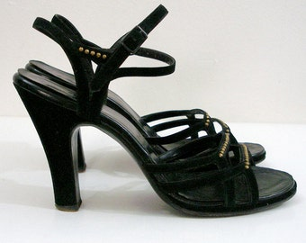 1940s Vintage High Heels Black Platform Strappy Sandals / U.S. 6.5 to 7M