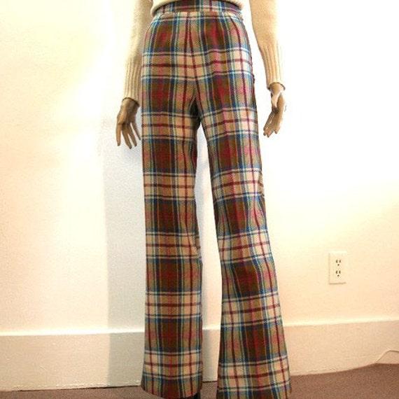Vintage Bell Bottoms Bellbottoms / 1970s High Waist Wool Maroon Plaid Slacks / S