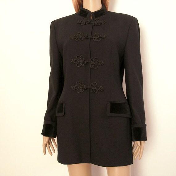 1980s Blazer Jacket / 80s BLACK Long Jacket /Jones of New York / Medium