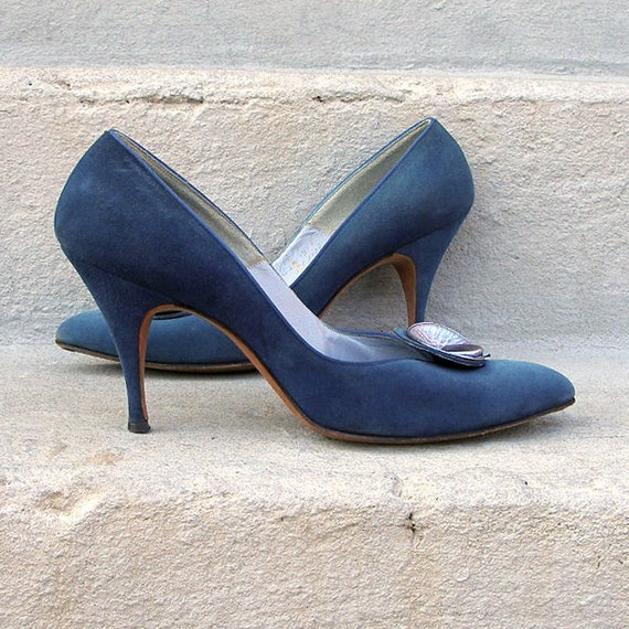 1950s High Heels Pumps Shoes TEAL Cadet BLUE Suede Mad Men Bombshell 7AAAA