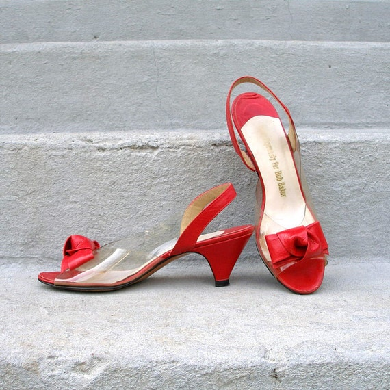Vintage 1960s Kitten Heels Red Leather Clear Vinyl Slingback Sandals Shoes / 6 to 6.5 N