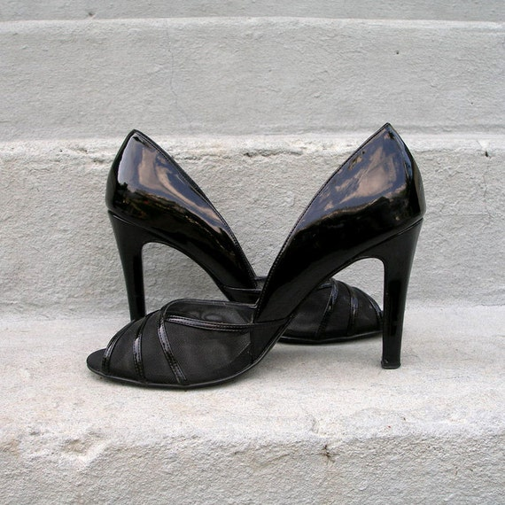 1980s High Heels / 80s Black Patent Mesh Open Toes / Four Inch Heels / Size 10 M