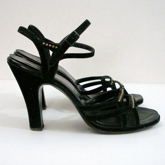 1940s Vintage High Heels Black Platform Strappy Sandals / U.S. 6.5 to 7M