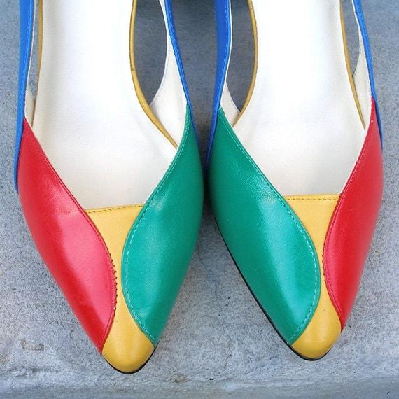 1980s High Heels / 80s PRIMARY Colors Pumps Shoes / Unworn/ 8.5M