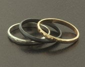 Set of 3 Stack Rings - Gold, Argentium Sterling Silver, Oxidized Silver
