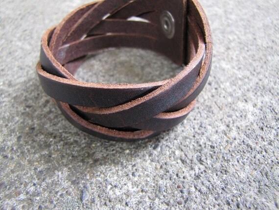 Dark brown leather cuff bracelet