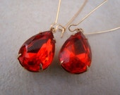 Elegant Red Orange Earrings, Vintage Gems, Wedding, Dangles, Brass Ear Hooks & Setting - Fiero