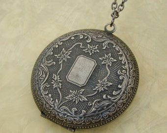 Large Dark Silver Locket Necklace Wedding Jewelry Bride Bridesmaid Mother Wife Sister Daughter Wife Valentine Photo Pictures - True Romance