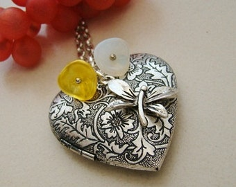 Large Silver Heart Locket Necklace Wedding Dragonfly Yellow White Glass Flower Wife Mother  Gift Photo Pictures - Janelle