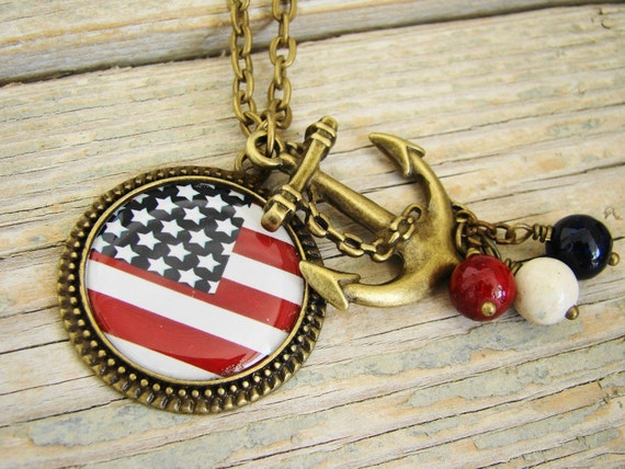 Anchors Aweigh - American Flag with Anchor Pendant