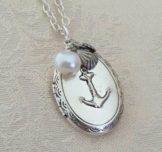 Silver Anchor Locket Christmas Hanukkah Wife Sister Wedding Bride Navy Ocean Sea Nautical Birthday Daughter Sailing Graduation - Sailor Girl