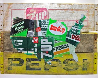 United States Map - Upcycled Vintage Lemon Lime Soda Can Collage