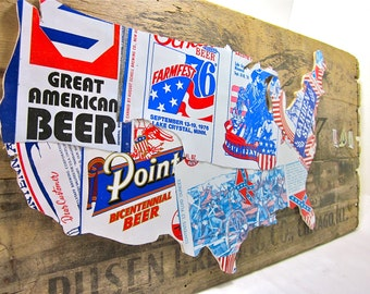 United States collage made from patriotic beer cans