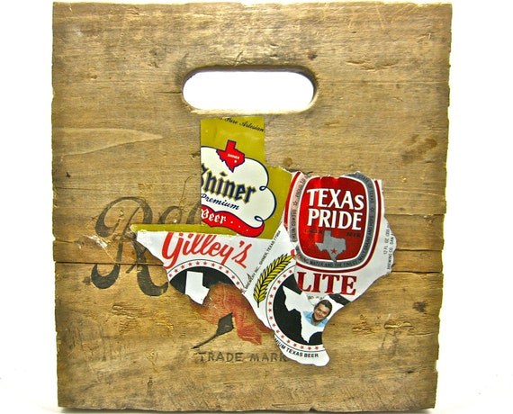 State of Texas made from vintage upcycled Texas beer cans