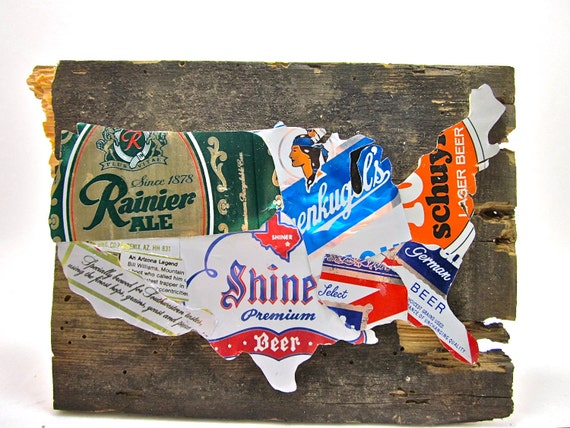 United States Map - Vintage Upcycled Beer Can Collage