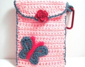 Cell Phone Case Hip Android Cellphone Purse Pink with Turquoise Butterfly Christmas Gift
