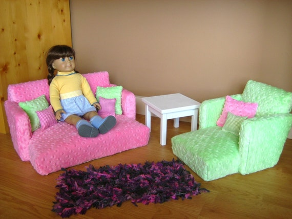 Doll Livingroom Set Fits American Girl Doll Couch Chair And