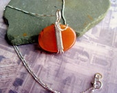 Carnelian Sterling Silver Handcrafted Wiresmithed Necklace