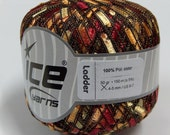 Ladder Ribbon Yarn by ICE Yarns Color Firefly Red & Gold