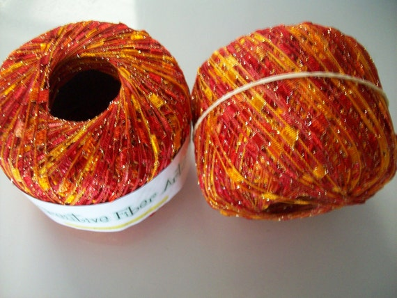 Orange, Red, and Gold with Metallic Gold Ladder Yarn Discontinued