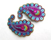 Paisley Hair Clips - Sequin and Rhinestone - Set of two