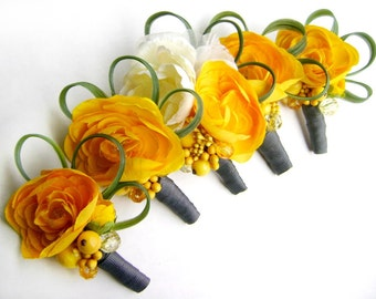 Yellow and Grey Ranunculus Boutonnieres - Set of Five - Ready to Ship