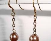 Antique Bronze Chain Earrings Bronze Earrings Pearl Dangle Earrings