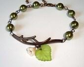 Green Pearls and Flower Branch Antique Bracelet Branch Bracelet
