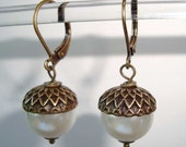 Bronze Brass Acorn Earrings Antique Earrings with White Ivory Pearls Acorns Earrings