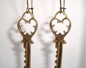 Keys Earrings Antique Bronze Long Drop Kidney Key Earrings