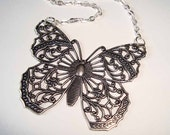 Filigree Butterfly Necklace Large Antique Silver Pendant