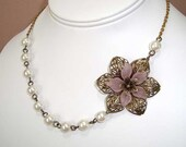Bronze Pink Flower Necklace and Pearl Beads Necklace