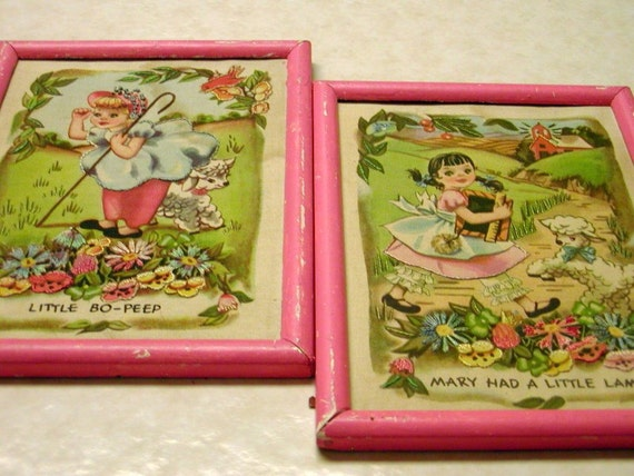 Nursery Rhymes in the Pink (Antique Estate Fabric Print Embroidered Mother Goose Mary Had a Little Lamb and Little Bo-Peep Pair Framed Pictures)