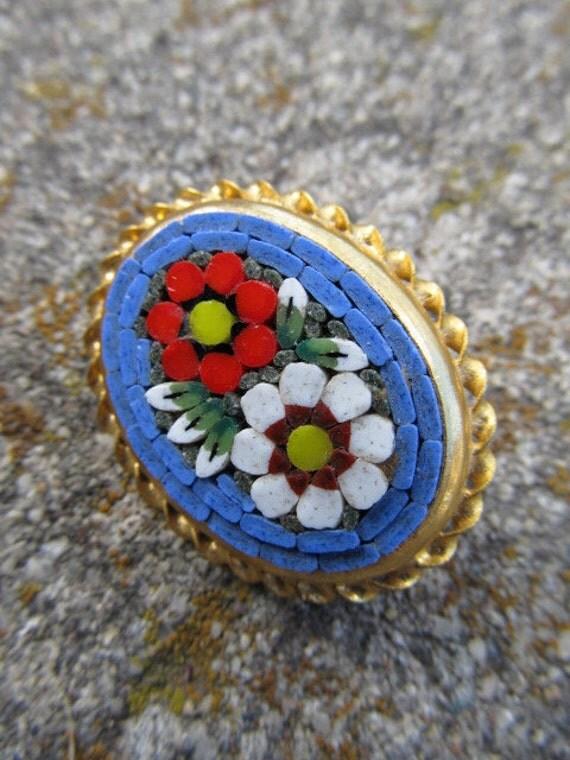 Vintage Micro Mosaic Flower Brooch Pin
