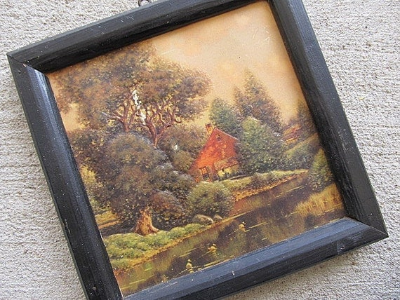 Vintage 3-Dimensional Framed Cottage Print