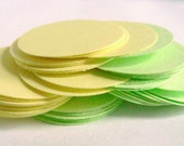 50 Green and Yellow Cardstock Circles - 1 inch