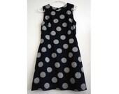 Dark Blue and Cream Medallion Embroidery Dress