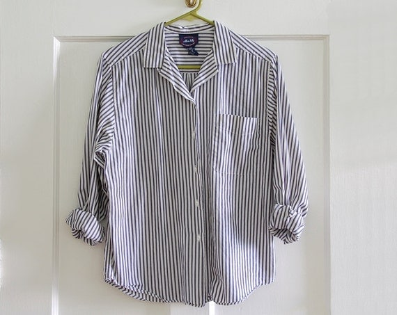 Blue and White Contrast Block Stripe Pocket Shirt