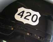 420 Vinyl 2.5 inch wide Decal Highway 420 White Gloss vinyl