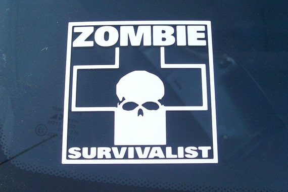 Zombie Survivalist Decal White auto motorcycle laptop lunch box