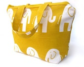 """On the GO tote bag  Elephants in Yellow 13""""W x 9""""L x 4.5"""""""