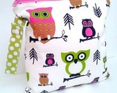 Colored Owls Bag with Snapped Handle