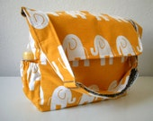 Set Adjustable Diaper Bag Set Elephants in Yellow Deluxe Diaper Bag with a Matching Pouch