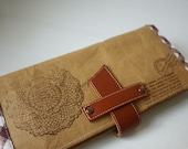 Hand Stamped Washable Kraft Paper Long Wallet