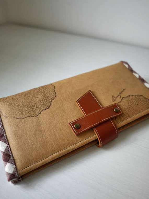 PREORDER . Hand Stamped Washable Kraft Paper Long Wallet