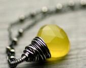 Lemon Yellow Chalcedony Necklace